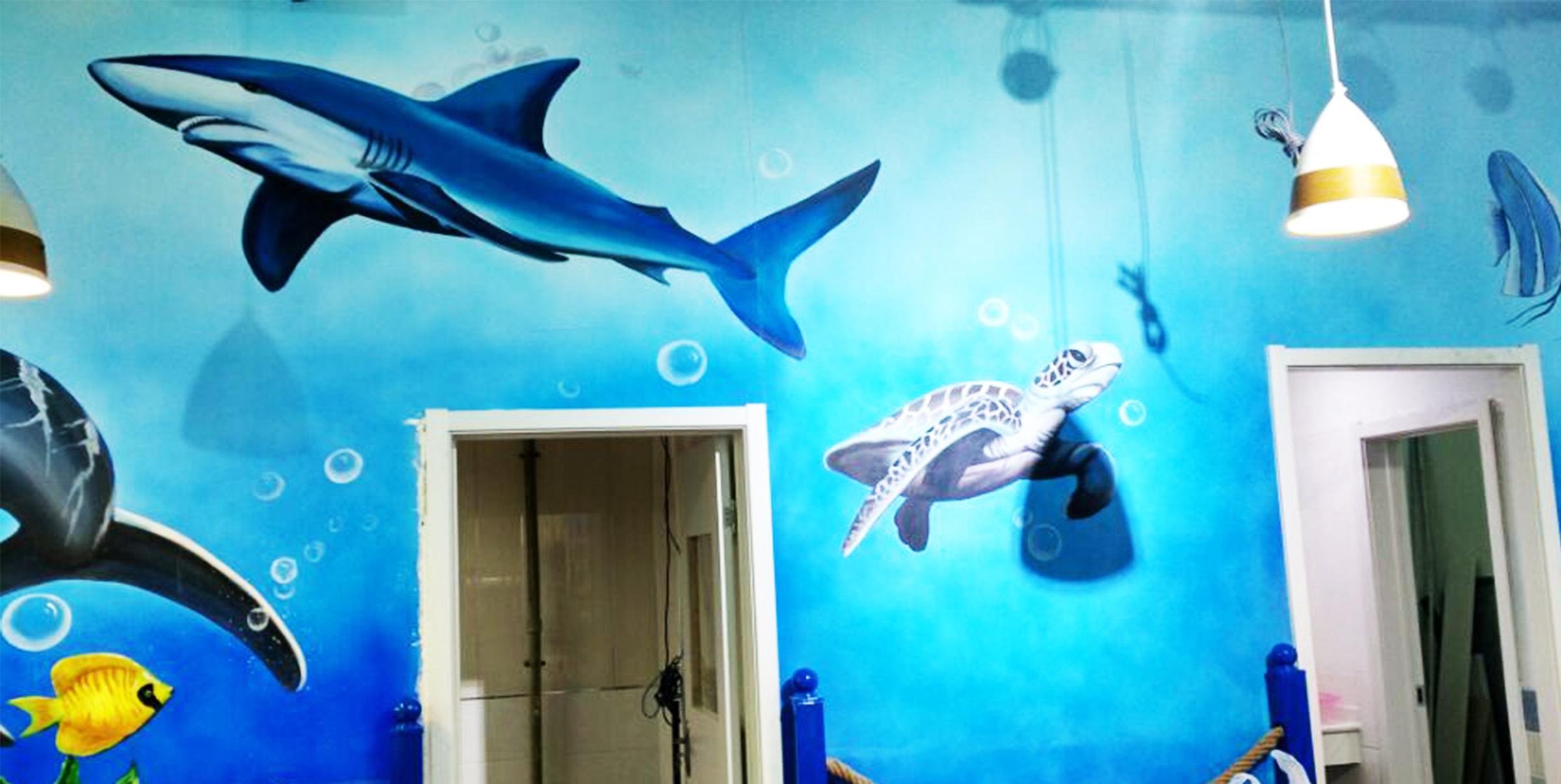 海底世界墙绘 3d海洋馆墙绘 海鲜馆手绘 海鲜馆墙绘