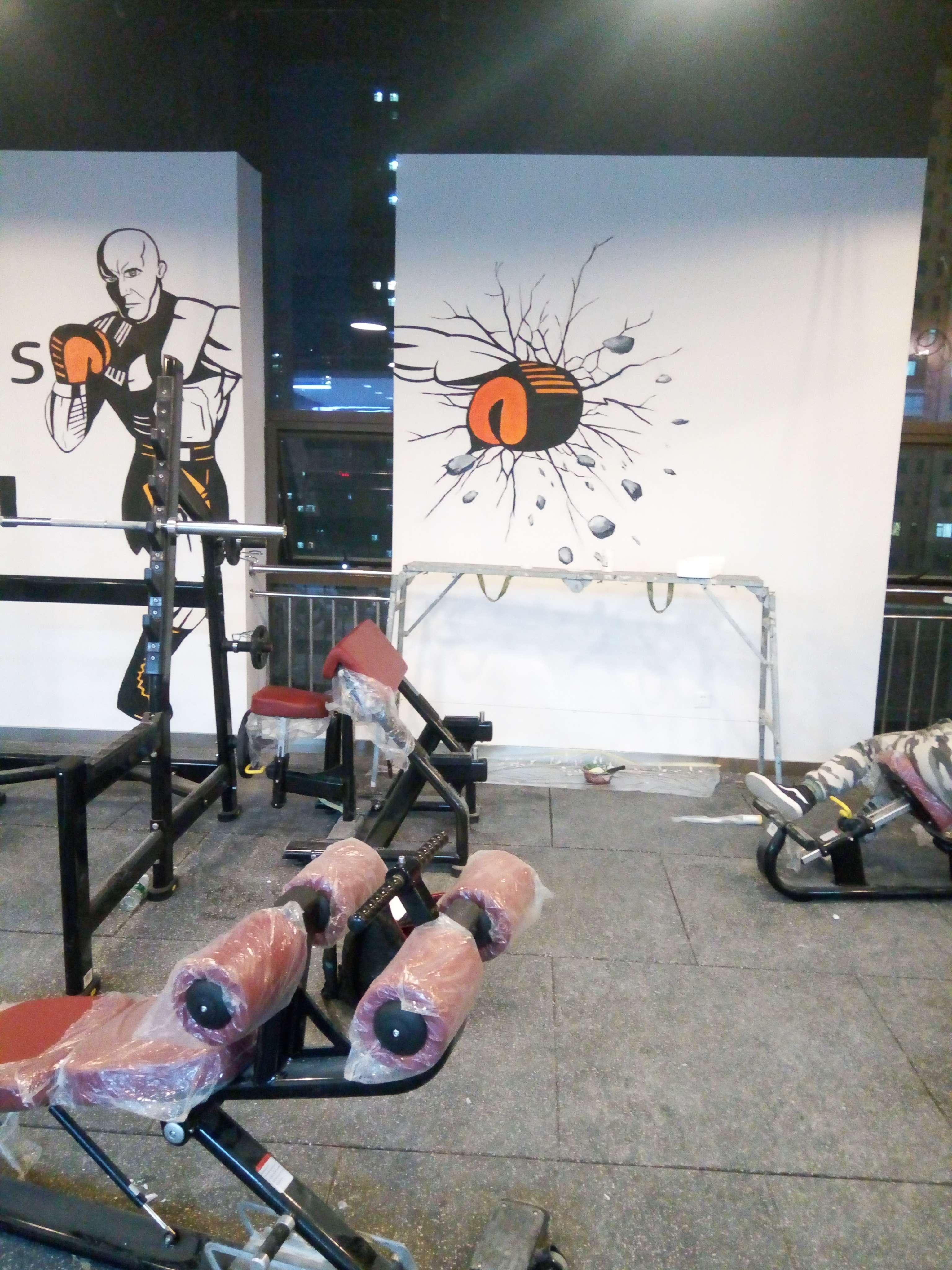 太原健身房墙绘 健身房手绘 健身房涂鸦 健身房彩绘